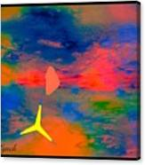 Sunset Abstract With Windmill Canvas Print