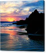Sunset And Clouds Over Crescent Beach Canvas Print