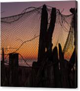Sunset And Fishing Net Cape May New Jersey Canvas Print