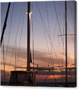 Sunset And Sailboat Canvas Print