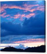 Sunset Art Print Blue Twilight Clouds Pink Glowing Light Over Mountains Canvas Print