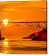 Sunset At Deception Pass Bridge Canvas Print