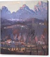 Sunset At Dolomites Belluno Canvas Print