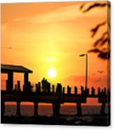 Sunset At Fort De Soto Fishing Pier Pinellas County Park St. Petersburg Florida Canvas Print