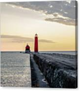 Sunset At Grand Haven Canvas Print