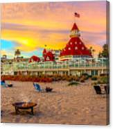 Sunset At Hotel Del Coronado Canvas Print
