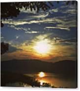 Sunset At Multnomah Falls Canvas Print