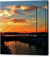 Sunset At Newport Beach Harbor Canvas Print