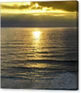 Sunset At Praia Pequena, Small Beach In Sintra Portugal Canvas Print