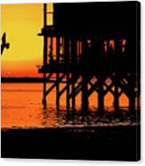 Sunset At Raft With Bird Canvas Print