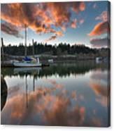 Sunset At Sellwood Riverfront Park Canvas Print