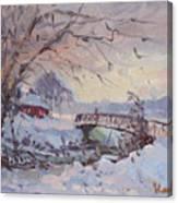 Sunset At Snow-covered Niawanda Park Canvas Print