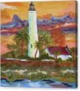 Sunset At St. Mark's Lighthouse Canvas Print