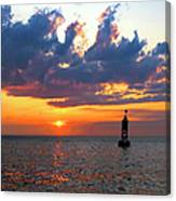 Sunset At The Bell Buoy Canvas Print