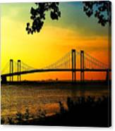 Sunset At The Delaware Memorial Bridge Canvas Print
