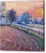 Sunset At The Farm Canvas Print