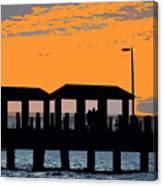 Sunset At The Fishing Pier Canvas Print