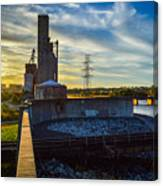 Sunset At The Flood Wall Canvas Print