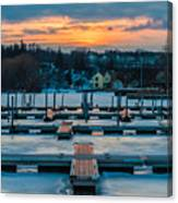 Sunset At The Marina In Winter Canvas Print