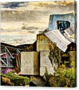 sunset at the marques de riscal Hotel - frank gehry - vintage version Canvas Print