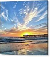 Sunset At The Pismo Beach Pier Canvas Print