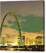 Sunset At The St. Louis Arch  Canvas Print