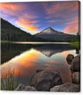 Sunset At Trillium Lake With Mount Hood Canvas Print