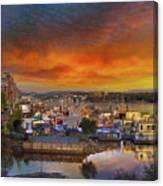 Sunset At Victoria Inner Harbor Fisherman's Wharf Canvas Print