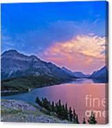 Sunset At Waterton Lakes National Park Canvas Print