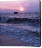 Sunset Beach Nj And Ship Canvas Print