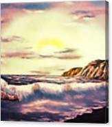 Sunset Beach Pastel Splash - Elegance With Oil Canvas Print