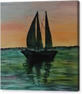 Sunset Boat 2 Canvas Print