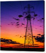 Sunset By The Wires Canvas Print