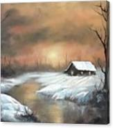 Sunset Cabin  Canvas Print