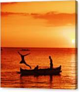 Sunset Canoe Jump Canvas Print