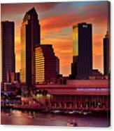 Sunset City Downtown By The River Canvas Print