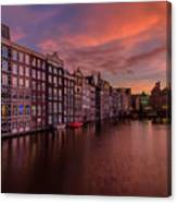 Sunset In Amsterdam Canvas Print