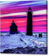 Sunset In Winter At Grand Haven Lighthouse Canvas Print