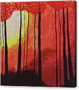 Sunset Into The Forest Canvas Print