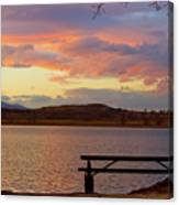 Sunset Lake Picnic Table View  Canvas Print