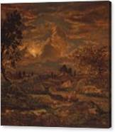 Sunset Near Arbonne , Theodore Rousseau Canvas Print