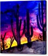 Sunset On Cactus Canvas Print