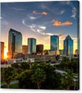 Sunset On Downtown Tampa Canvas Print