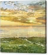 Sunset On Hobie Cat Beach, Siesta Key, Access 8 Canvas Print