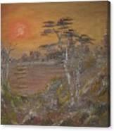Sunset On Lake Canvas Print
