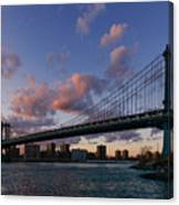 Sunset On Manhattan Bridge Canvas Print