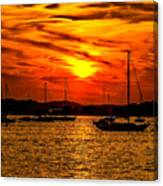 Sunset On Muskegon Lake Canvas Print