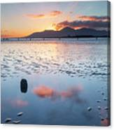 Sunset On New Year's Day Tyrella Beach Canvas Print