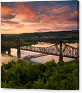 Sunset On Ohio River  Canvas Print