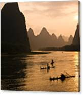 Sunset On The Li River Canvas Print